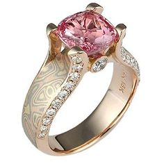 Pink Sapphire  Diamond Ring with Rose Gold.