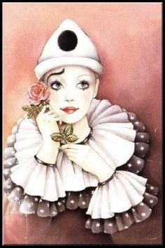 pierrot - Page 7 Clown Mignon, Clown Images, Pierrot Clown, Clown Paintings, Cute Clown, Send In The Clowns, Carnival Masks, Doll Painting, Vintage Circus
