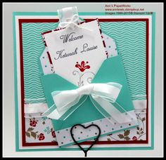 #Christening #naming ceremony card #Stampin' Up! #Fresh Prints Paper Stack (ret.), Real Red and Coastal Cabana cardstock.  Envelope made using theEnvelope Punch Board.  Ann's PaperWorks - Stampin' Up! demo. Australia