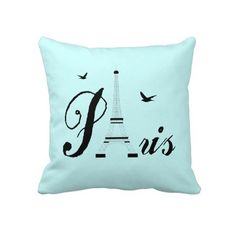 Eiffel Tower Paris Aqua Blue Black Picture Pillows by Flissitations