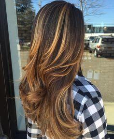 Dark Brown Hair With Golden Blonde Highlights