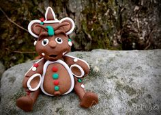Polymer Clay Dragon 'Molasses' - Limited Edition Christmas Holiday Collectible by KatersAcres on Etsy