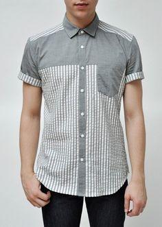 Modern take on seersucker ~ Alter Short Sleeved Shirt