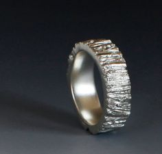 Men's Tree Trunk ring sterling silver 7mm your size by iacua, $178.00