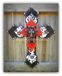 Large Wall CROSS - Black & White Floral, antiqued red and black