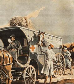 A veterinary ambulance tens to injured horses, 1918. - Scientific American
