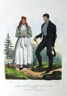 Maerische Volkstrachten. Iglauer Kreis. Herrschaft Rožinka, Lediger Paar.