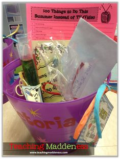 Totally in love with *Teaching Maddeness* ideas for an end of the year student gift bucket.