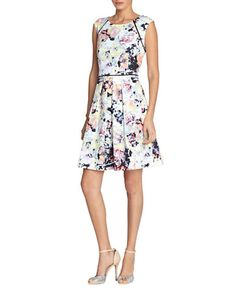Tahari Arthur S. Levine Floral-Print Fit And Flare Dress