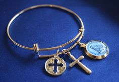 St Kateri Tekawitha Saint Medal Wire Bangle by faithsymbol on Etsy