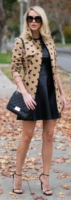 Camel And Black Heart Print Trench Coat