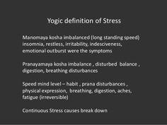 Yogic definition of Stress Manomaya kosha imbalanced (long standing speed) insomnia, restless, irritability, indesciveness...