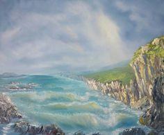 (c) Rocky Shore by Marwan Kishek. Oil on canvas 20 Rocky Shore, Oil Paintings, Oil On Canvas, Waves, Ocean, Clouds, Sky, Beach, Artist