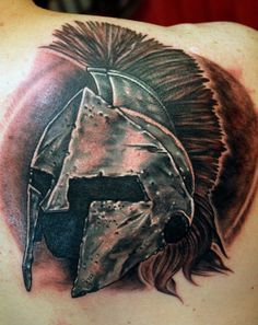 Spartan Helm by Sean Ambrose at Arrows & Embers in Concord, NH. Thanks for looking! #Spartan #Sparta #Greek #Helm #warrior #tattoo #tat #body #modification #art #artist #artwork