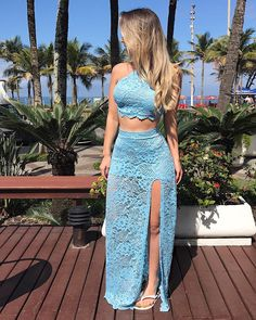 Blue two piece lace prom dress, Blue Two Piece, Two Piece Skirt Set, Summer Outfits, Cute Outfits, Mode Hijab, Tank Dress, Pulls, Fashion Outfits, Womens Fashion