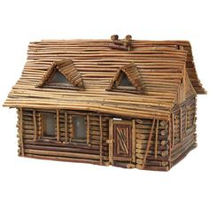 Folk Art Twig Log Cabin Home 1 This charming vintage cabin is made of twigs. The door to the cabin opens and there are windows. Willow Furniture, Cabin Furniture, Dollhouse Furniture, Rustic Furniture, Antique Furniture, Cool Furniture, Antique Art, Furniture Ideas, Craft Stick Crafts