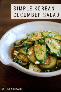 A simple light Korean cucumber side dish that's like a salad. Very light seasoning allows the cucumber flavor to come through. #cucumber #salad #saladrecipes #asianfood #koreanfood #kimchimari