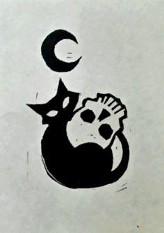 Halloween Print: Cat with the Moon – Tattoo Sketches & Tattoo Drawings Tattoo Drawings, Body Art Tattoos, Art Drawings, Halloween Prints, Halloween Art, Cute Halloween Drawings, Dibujos Dark, Black Cat Tattoos, Future Tattoos