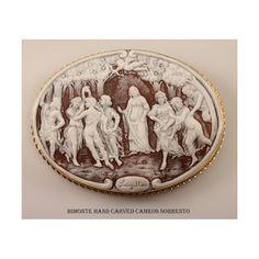 """""""La Primavera di Botticelli"""" Carved Cassis Madagascariensis Shell Cameo Pendant/Brooch, Mounted In 18k Solid Gold - Copied From """"LaPrimavera"""" By Alessandro Botticelli, Galleria Uffizi, Firenze"""