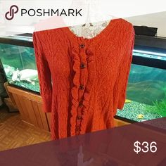 ONE GIRL WHO.. ANTHROPOLOGIE OVERSIZED SWEATER SUPER CUTE..BURNT ORANGE. OVERSIZED/LOSER FIT KNITTED SWEATER. TAG SIZE M TRUE COLOR PIX 4. Anthropologie Sweaters