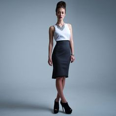 Hi-Waist Dress White Gray, $189, now featured on Fab.