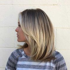 Straight Blonde Long Bob Hairstyle