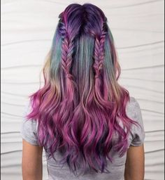 Beauty: Fantasy Unicorn Purple Violet Red Cherry Pink yellow Bright Hair Colour Color Coloured Colored Fire Style curls haircut lilac lavender short long mermaid blue green teal orange hippy boho ombré woman lady pretty selfie style fade makeup grey white silver trend trending multi confetti Pulp Riot