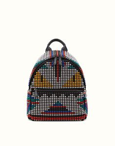 FENDI | SAC À DOS BAG BUGS en nylon avec clous multicolores