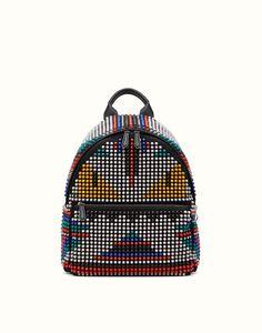 FENDI   SAC À DOS BAG BUGS en nylon avec clous multicolores