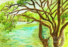 Irina  Afonskaya - Landscape with willows and lake