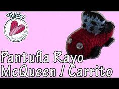 "Pantuflas de Carrito Tejido | ""Rayo Mcqueen"" Tutorial de Tejido - YouTube"