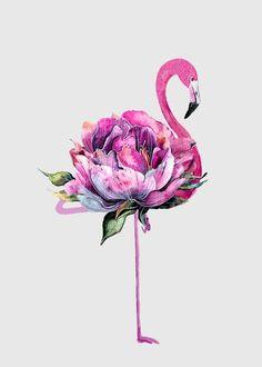 Hawaiian Party Decorations, Flamingo Art, Pink Flamingos, Flower Tattoos, Framed Art Prints, Watercolor Paintings, Iphone Wallpaper, Art Drawings, Artwork