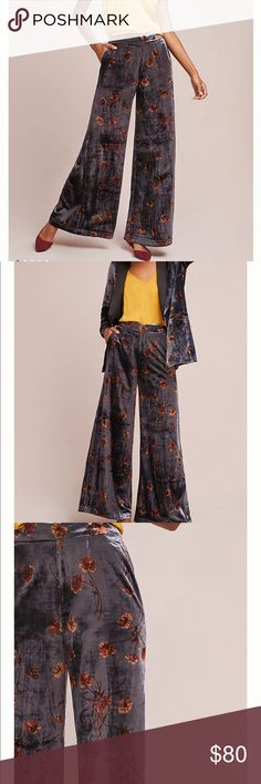 New! Anthropologie Velvet Floral Wide Leg Pants New! Ett:twa for Anthropologie Velvet Floral Wide Leg Pants • Size Small • Details in Pictures • Color is Gray with bluish/lavender undertones and orange/yellow flowers • Beautiful fabric. Brand new with tags   From Anthro Fall/Winter 2017/18 Collection. Anthropologie Pants Trousers