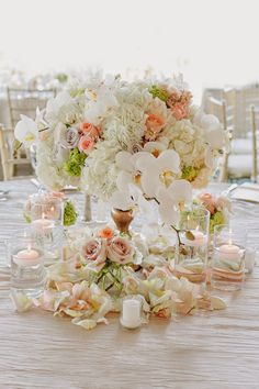 12 Stunning Wedding Centerpieces - Edition IMAGE CREDITS {Photography: Jinda Photography // Floral: Flower Affairs // via: Junebug Weddings} Wedding Reception Centerpieces, Reception Decorations, Wedding Table, Wedding Bouquets, Reception Ideas, White Centerpiece, Centrepieces, Centerpiece Ideas, Dream Wedding