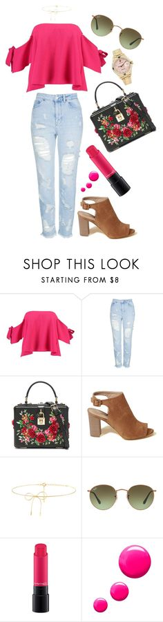 """""""Fuchsia"""" by devonkathleenallen ❤ liked on Polyvore featuring Boohoo, Topshop, Dolce&Gabbana, Hollister Co., Lilou, Ray-Ban, MAC Cosmetics, Rolex, Pink and showsomeshoulder"""