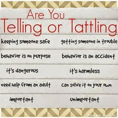 three kids and a fish: Telling vs Tattling