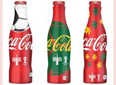 Coke Lot of 3 Aluminum Bottle Limited Edition 2014 FIFA World Cup Brazil coca