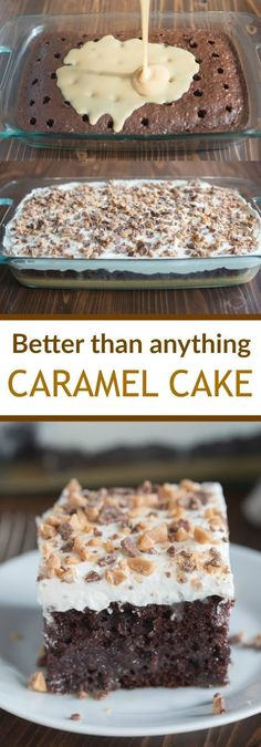 than Anything Cake made with caramel sauce and fresh whipped cream. This Better than Anything Cake made with caramel sauce and fresh whipped cream. -Better than Anything Cake made with caramel sauce and fresh whipped cream. 13 Desserts, Brownie Desserts, Oreo Dessert, Delicious Desserts, Yummy Food, Healthy Desserts, Carmel Desserts Easy, Healthy Recipes, Dinner Healthy