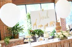 Gold Safari Birthday Dessert Table and Sign