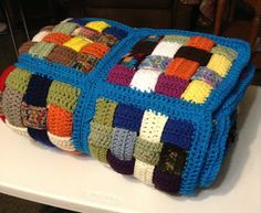 A Simple Country Gal: Afghan made from Crocheted strips Woven together! Cool use of yarn scraps!!.