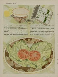 1926 Wesson Oil ad with tomato slices on bed of lettuce.