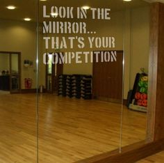 LOOK IN THE MIRROR Etch Effect Decal for Mirrors/Glass Home Gym Office Motivate | eBay