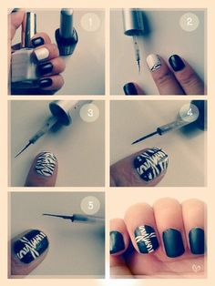 Zebra and Cross Nails. So easy when you have a step by step guide!