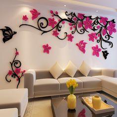 Цветок хрустальные трехмерные стикеры стены Вала акриловые диван стены стикеры…