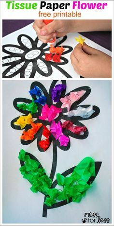 tissue paper spring flower crafts- acraftylife.com - 20 spring flower crafts #preschool #craftsforkids #crafts #kidscraft #spring