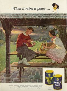Morton Salt 1953 Advertisement Signed Norman Rockwell Image – Picnic In The Rain – Great Kitchen Decor Old Advertisements, Retro Advertising, Retro Ads, Vintage Ads, Vintage Images, Vintage Signs, Vintage Prints, Vintage Posters, Vintage Food