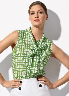 Grata Lattice Print Elisabetta Blouse : Womens Blouses & Designer Tops   Lafayette148ny.com