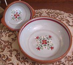 Vintage Stangl Art Pottery Large Bowl, Handled Soup Bowl Garland Pattern 1959-71