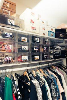 Wardrobe organisation - photos on shoe boxes
