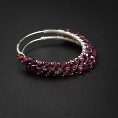 Garnet earrings cherry red garnet,  sterling silver hoop earrings garnetl handmade jewelry semiprecious stone endless hoop red silver hoops by CretanHareCreations on Etsy